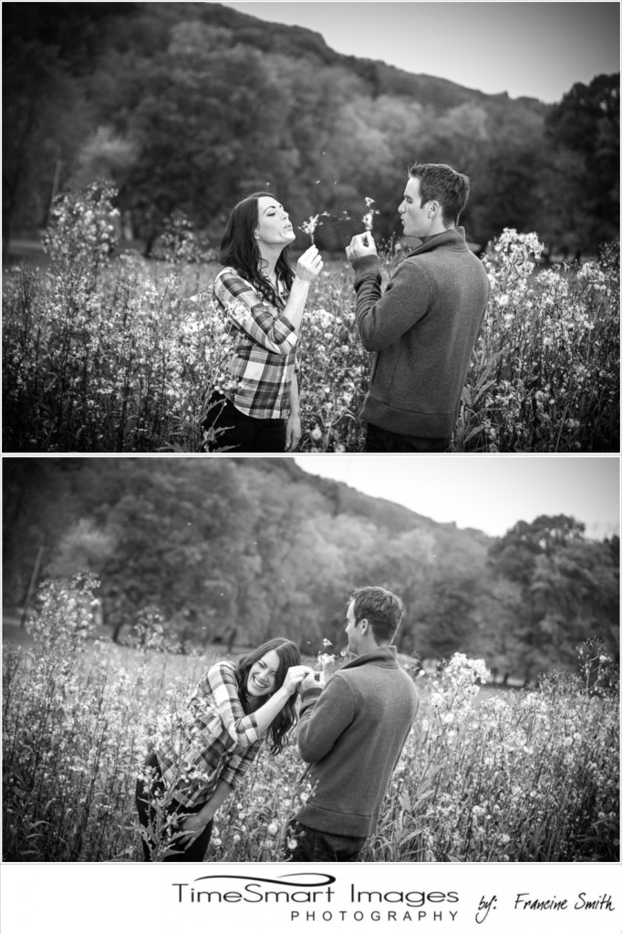 fall engagement in tall grass with puff balls