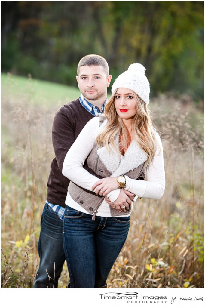 fall engagement white knit hat and vest
