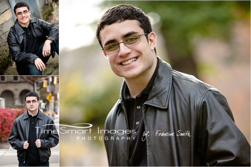 senior guy photos black leather with glasses