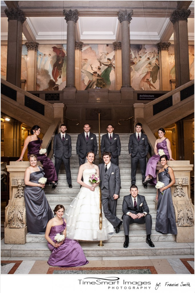 Bridal Party Formal on Steps