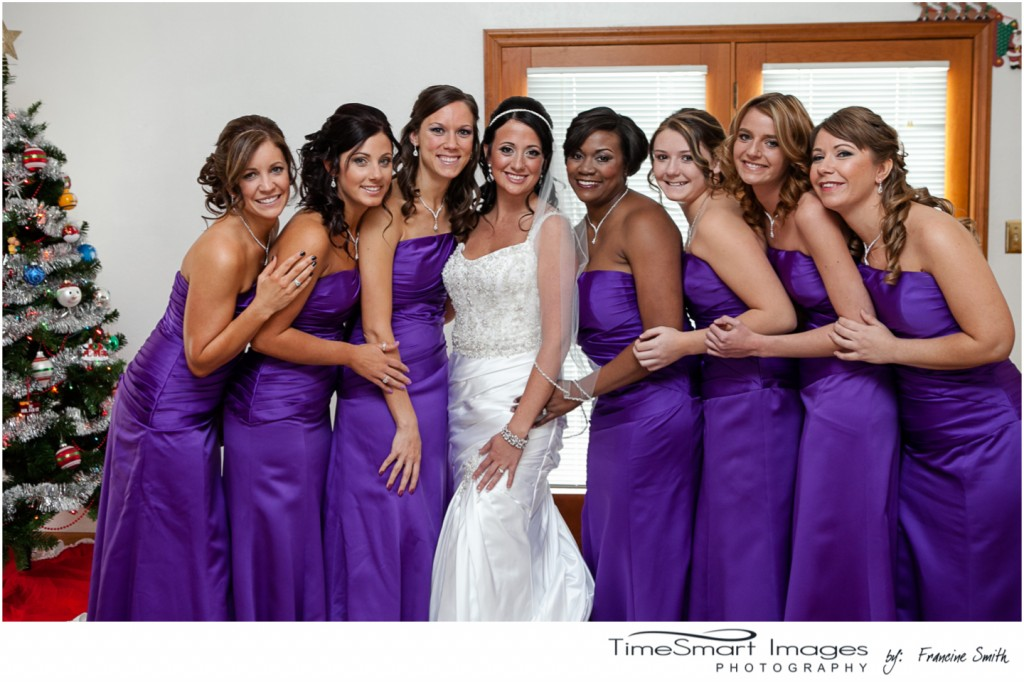 Pittsburgh winter wedding, bride with her girls