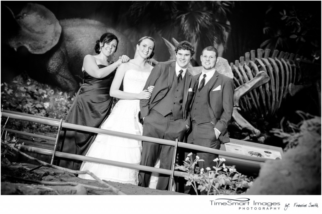 musuem of dinosaurs with maid-of-honor and best man
