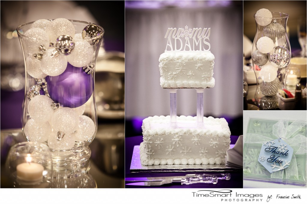 wedding cake and centerpieces - purple and white