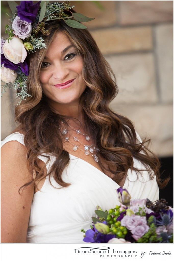 bride, flower headpiece, purple & green flowers