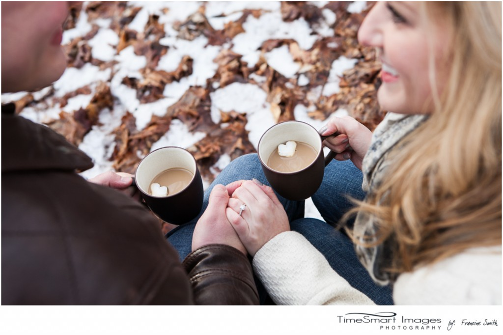 winter engagement, coffee, heart shaped marshmellows
