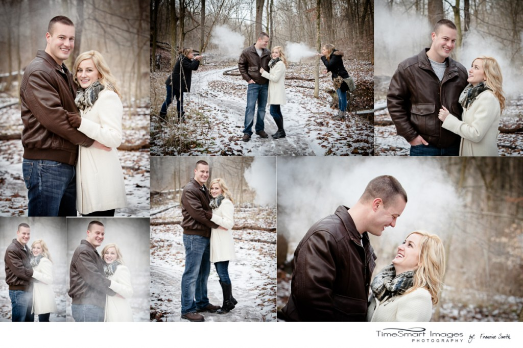 winter engagement, creative shoot with baby powder