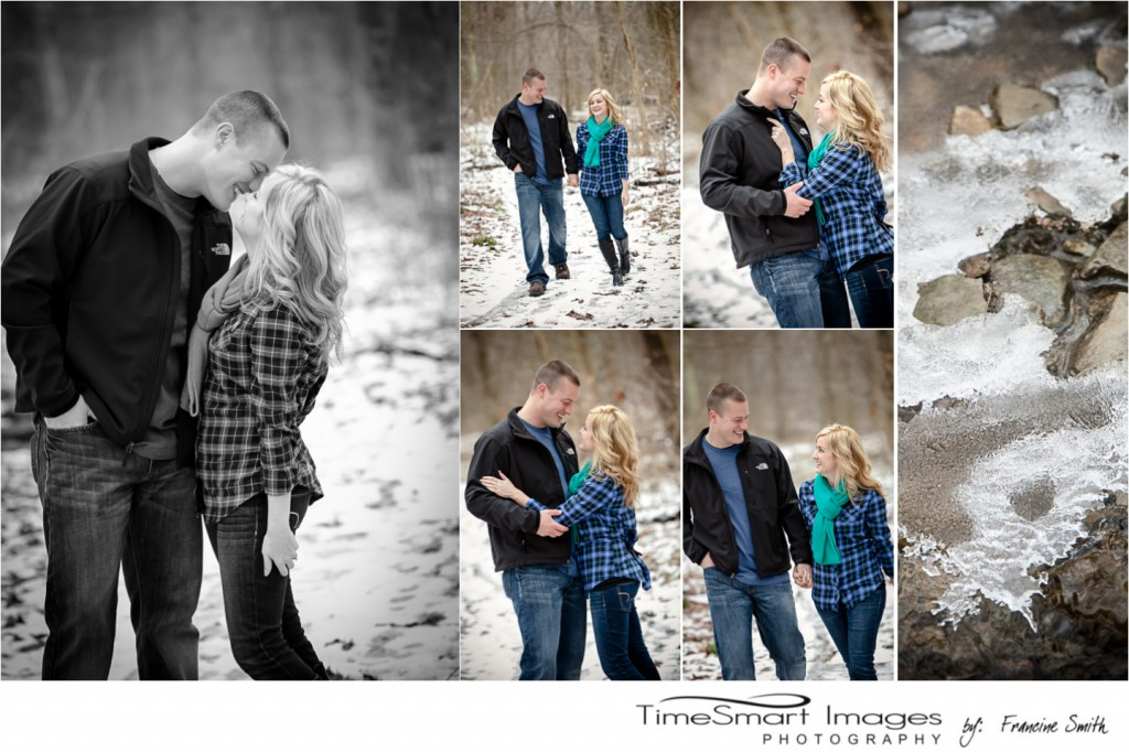 winter engagement in woods with snow and ice