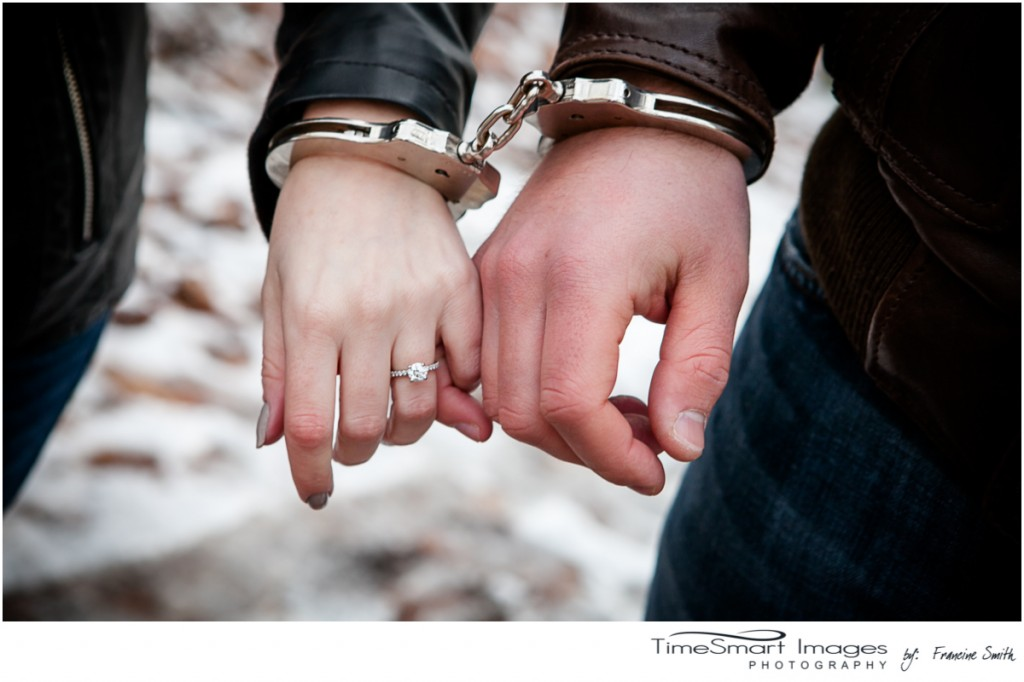 winter engagement, ring and handcuffs