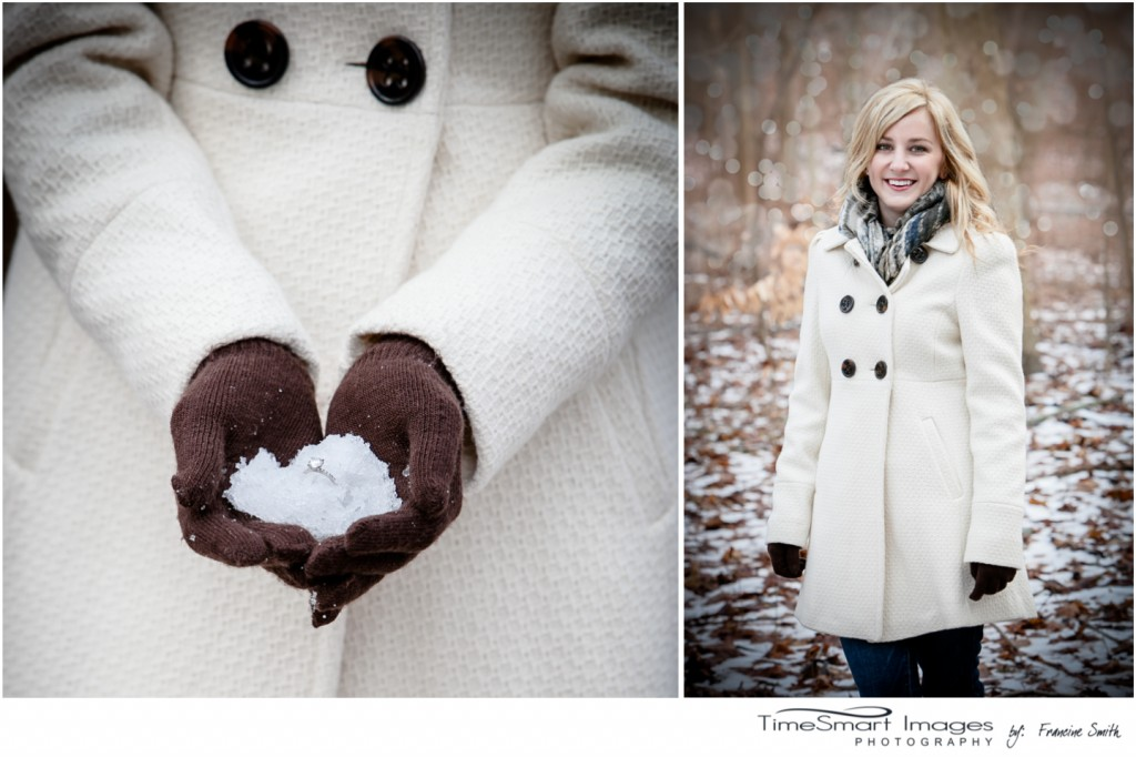 winter engagement, white coat, brown gloves, ring
