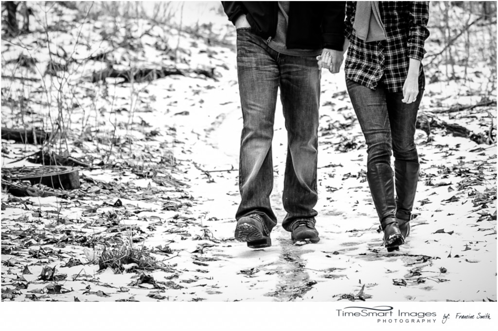 winter engagement with boots