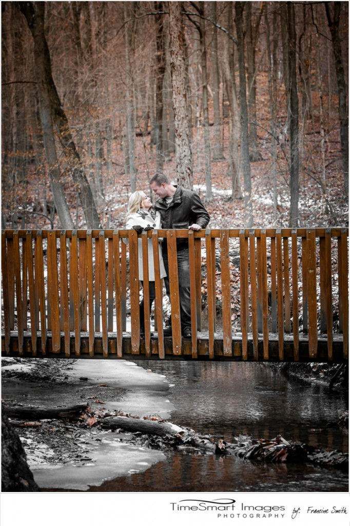 winter engagement, woods, snow, bridge