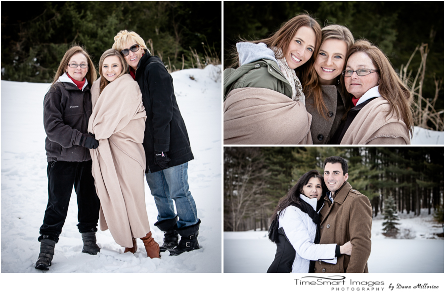 family at winter engagement session