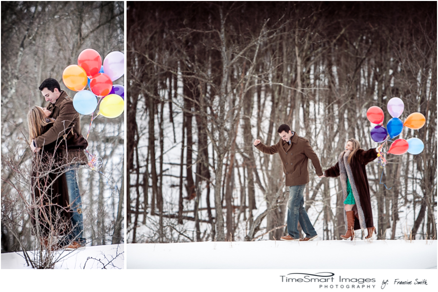 pittsburgh winter engagement, snow, balloons