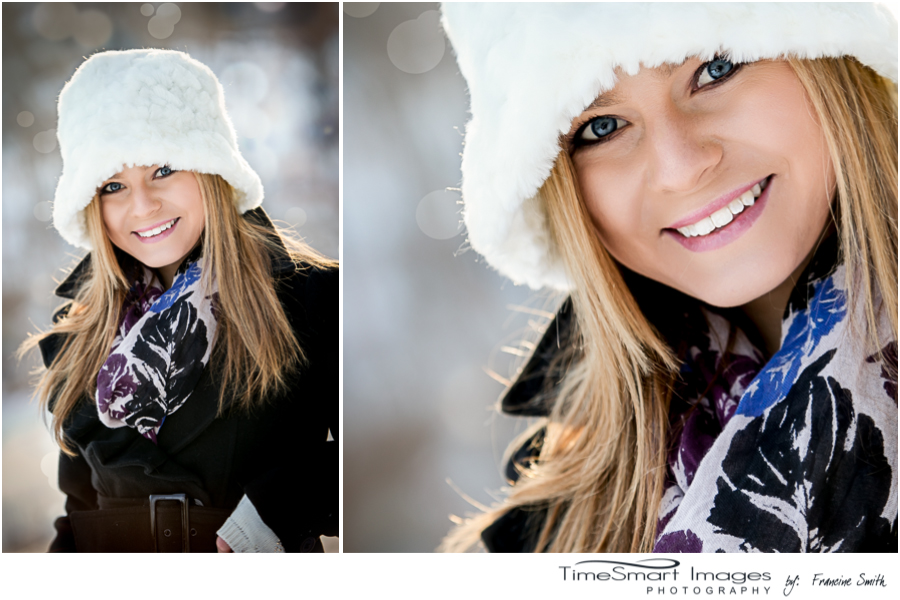 pittsburgh winter engagement, white fur hat