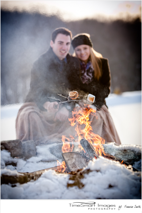 pittsburgh winter engagement with campfire and marshmellows2
