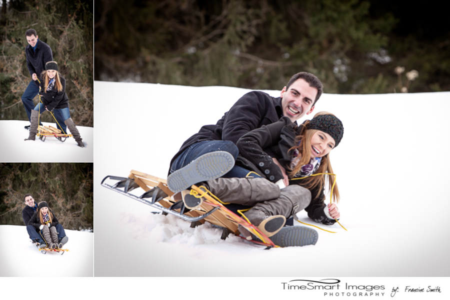 sled riding winter engagement