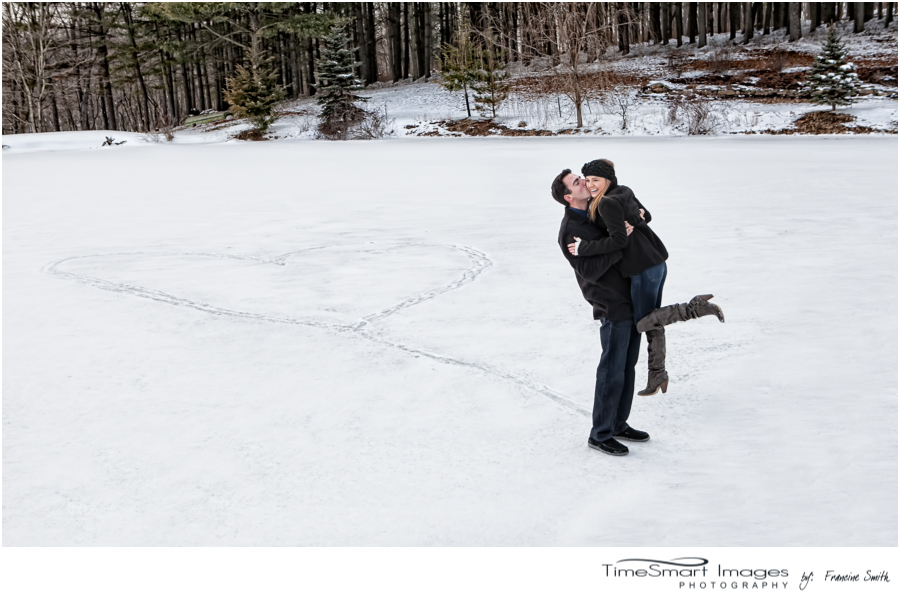 winter engagement heart in snow