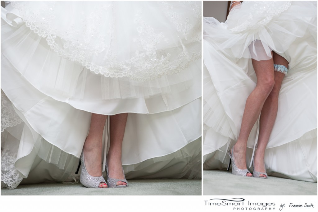 The wedding shoes and garter
