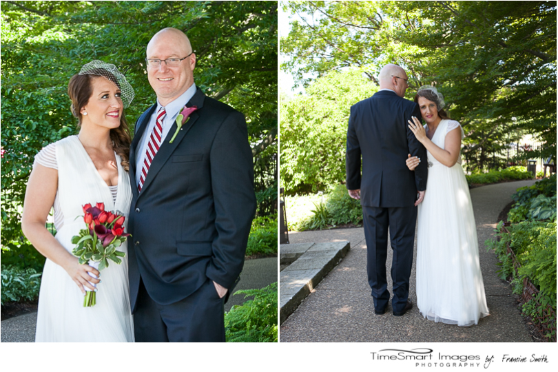 Phipps Conservatory Outdoor Garden Wedding Portraits