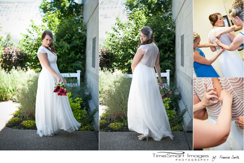 Phipps Conservatory outdoor wedding, wedding dress