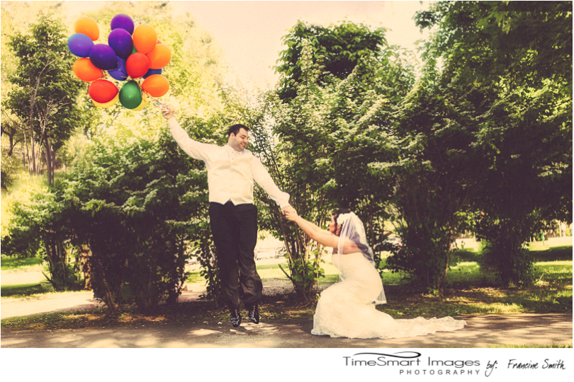 UP Themed Groom flying Away, Bride holding on