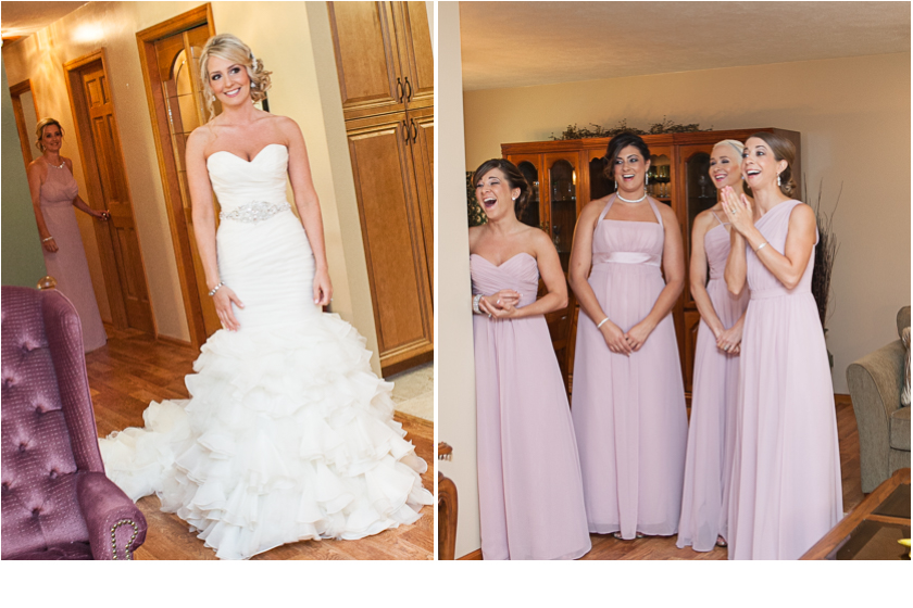1st look by bridesmaids