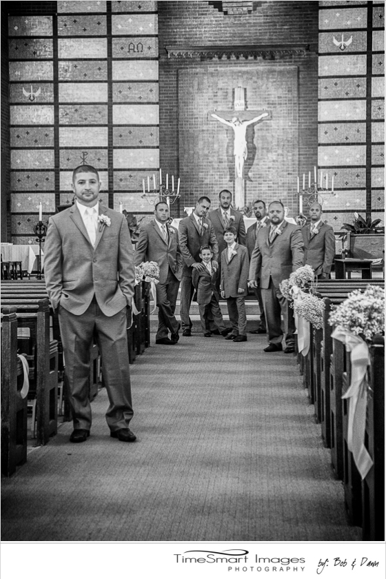 Groom and his guys in church