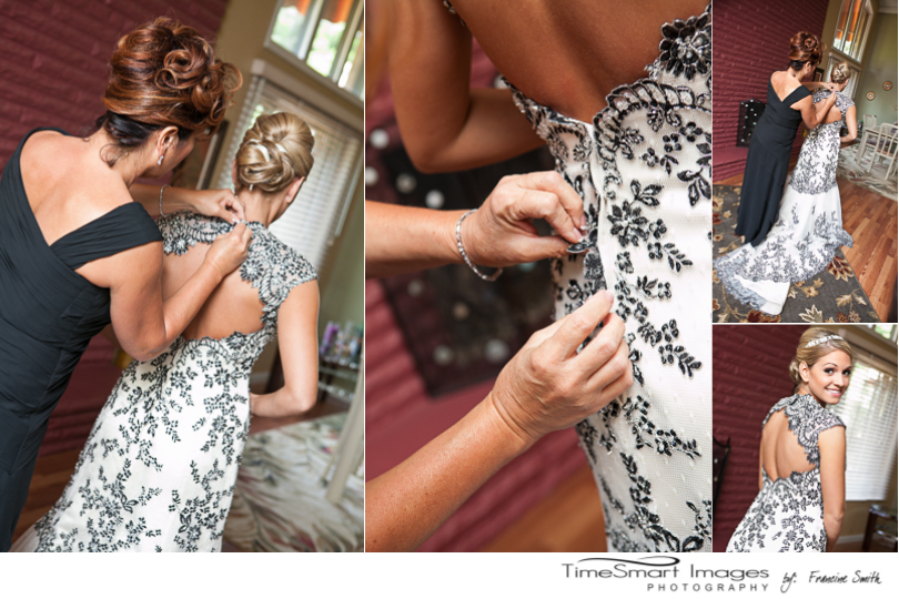 Mom helping Bride get ready for wedding_black & cream wedding dress