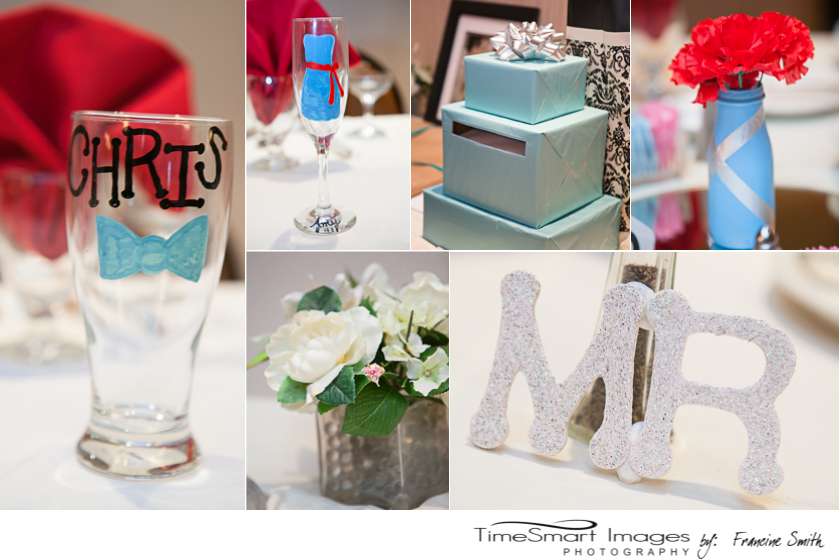 Red and Sky Blue Wedding Details