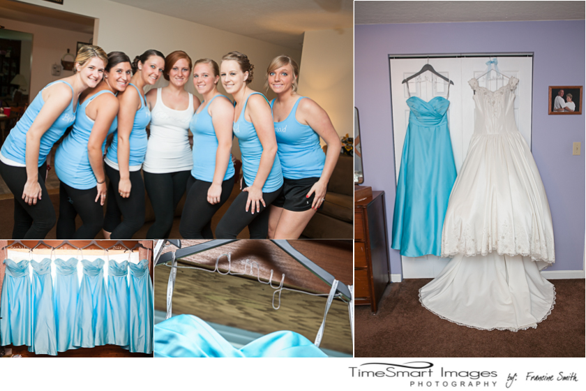 bridesmaids and sky blue bridesmaid grown
