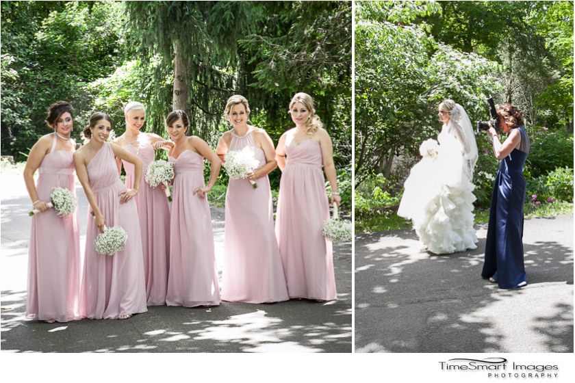 bridesmaids in blush gowns_behind the scenes