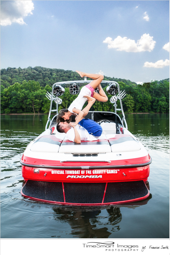 engagement fun on the water in boat