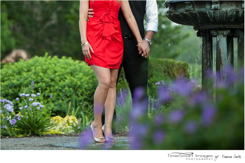engagement in the park with flowers