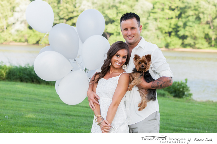 engagement with puppy and balloons