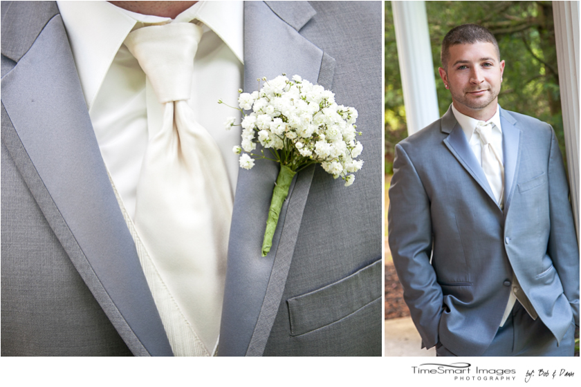 groom in light gray and ivory