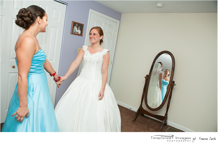 maid of honor in sky blue gown