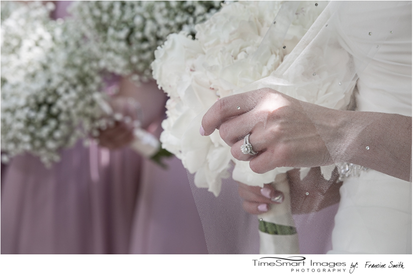 the wedding ring with veil and flowers