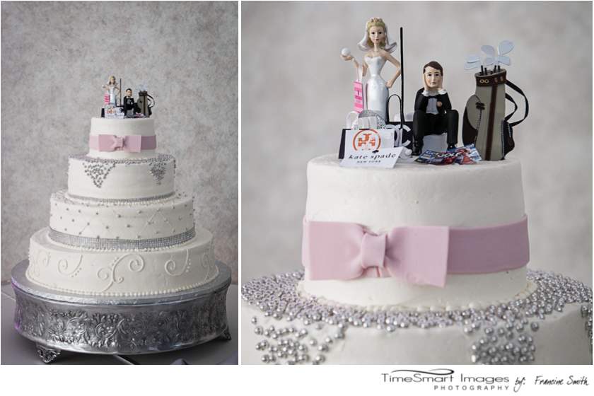 wedding cake_blush and silver_cake topper fun bride shopping and groom golfer